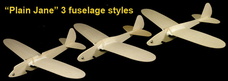 Plain Jane folding wing model plane fuselage styles