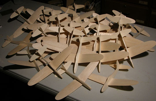 "Unpainted ""74"" Fighters geady to ship to school kids"