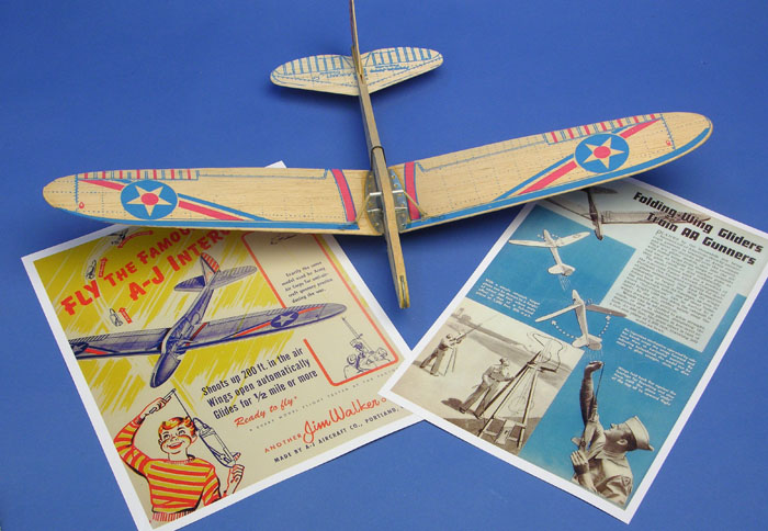 American Junior Army Interceptor folding wing glider comes with vintage advertisements from 1943 and 1846