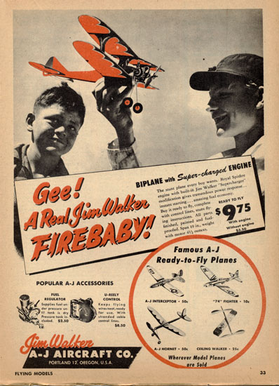 American Junior Firebaby Biplane Ad from Flying Models Magaazine