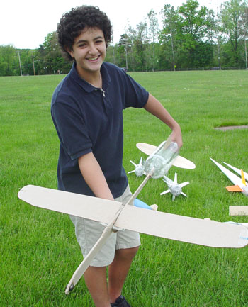Chris Erler and his Sewickley Academy's sixth grade Earth Science class folding wing rocket plane