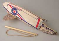A-J Army Interceptor folding wing catapult launch balsa model airplane