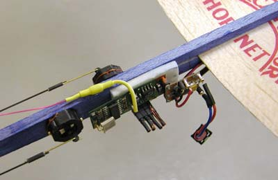 Mineature radio control mounted on Hornet fuselage