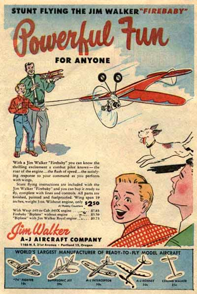 Firebaby advertisement from 1954 promotes this U-Control plane