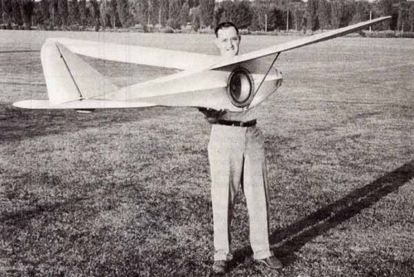 Jim Walker and his large Sonic Glider in Westmoreland Park in Portland, Oregon