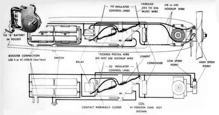Diagram of the Two-Speed Ignition System for control line model airplanes by Jim Walker