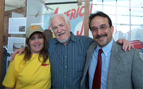 Katherine Huit, Frank Macy and Laureano Mier at the Jim Walker 101st Birthday celebration