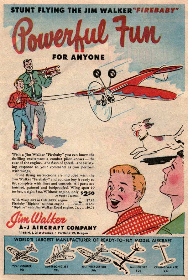 Introducing the new Jim Walker Firebaby in the 1954 Flying Models comic