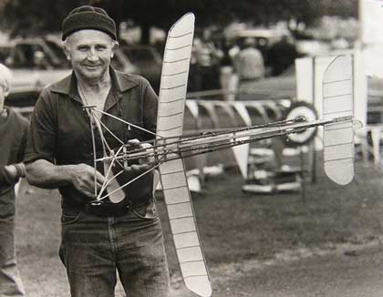 Jojnny Knepper with his 1910 Wakefield rubber powered plane
